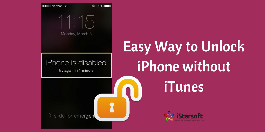 unlock a disabled iphone without itunes